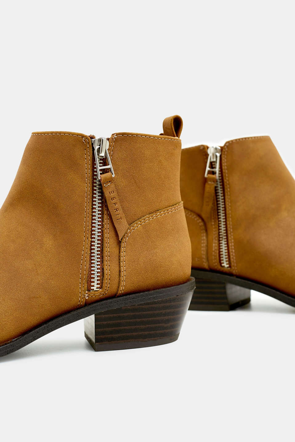 Faux nubuck leather ankle boots, TOFFEE, detail image number 4