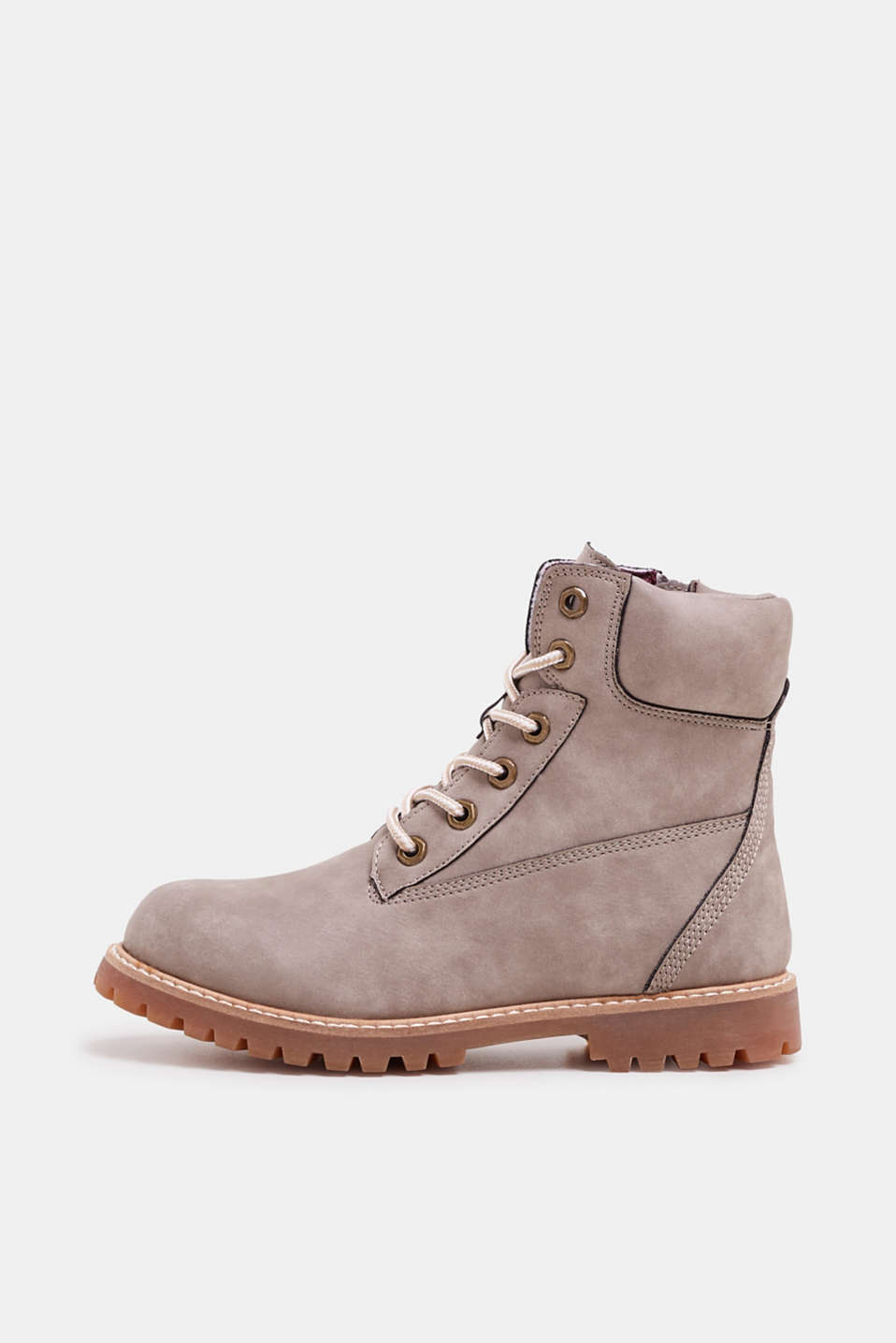 Faux leather lace-up boots, BROWN GREY, detail image number 0