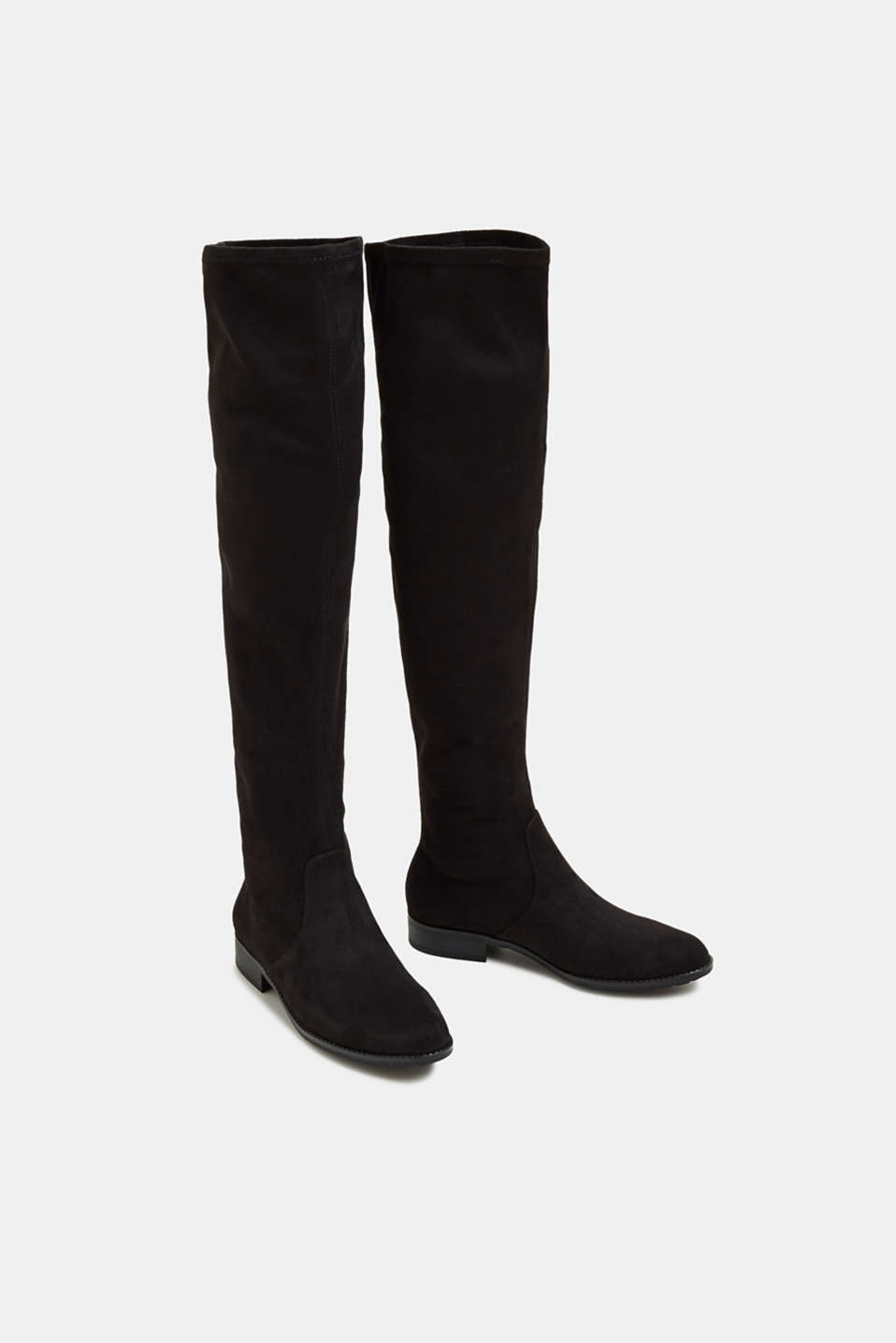 Over-the-knee boots in faux suede, BLACK, detail image number 1
