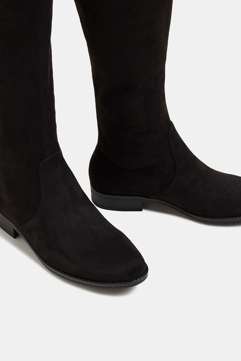 Over-the-knee boots in faux suede, BLACK, detail image number 4