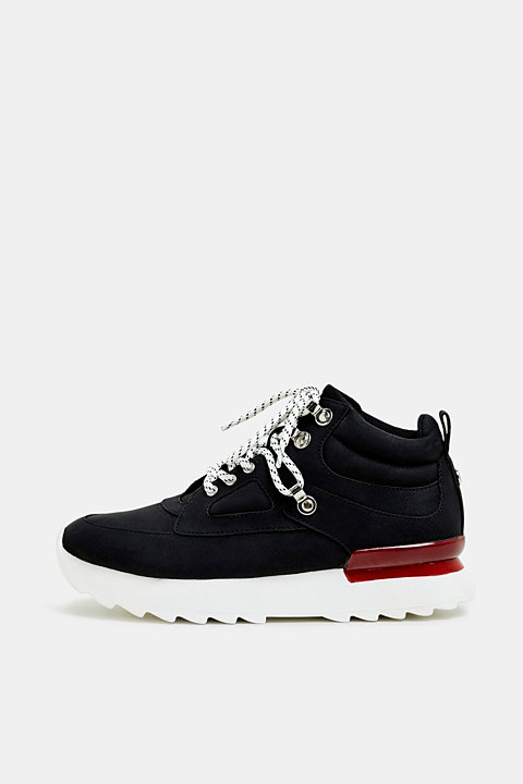 High-top trainers in soft faux nubuck leather