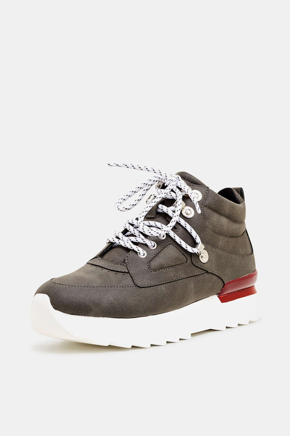 High-top trainers in soft faux nubuck leather, BROWN GREY, detail image number 2