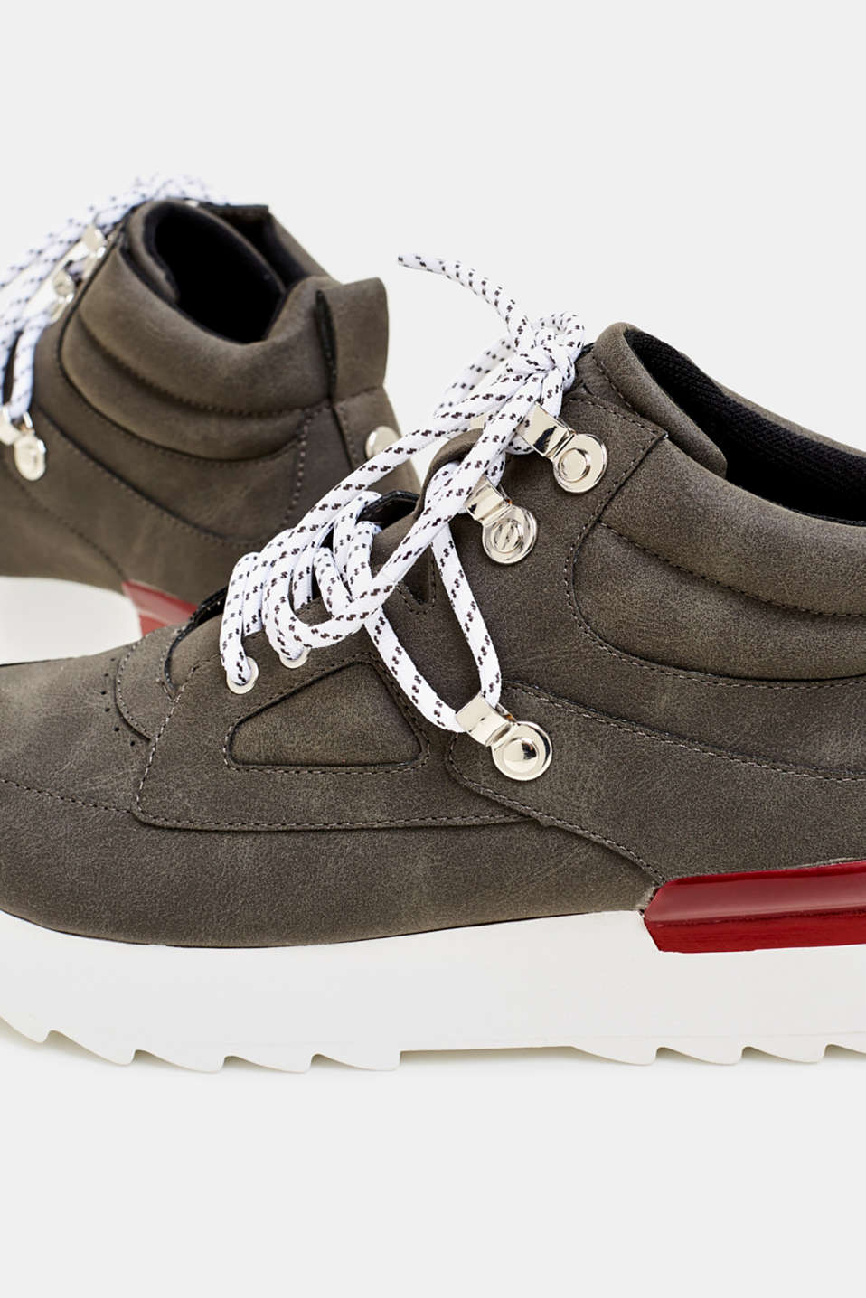 High-top trainers in soft faux nubuck leather, BROWN GREY, detail image number 4