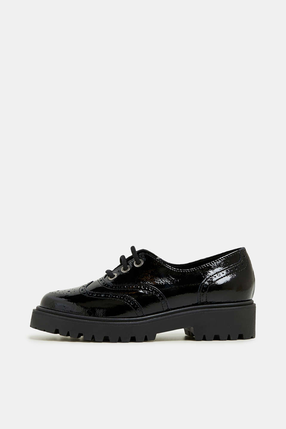 Esprit - Creepers met brogue-motief, in gelakte look
