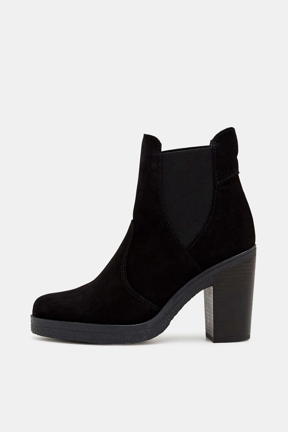 Esprit - Bottines à talons bottier, en cuir velours