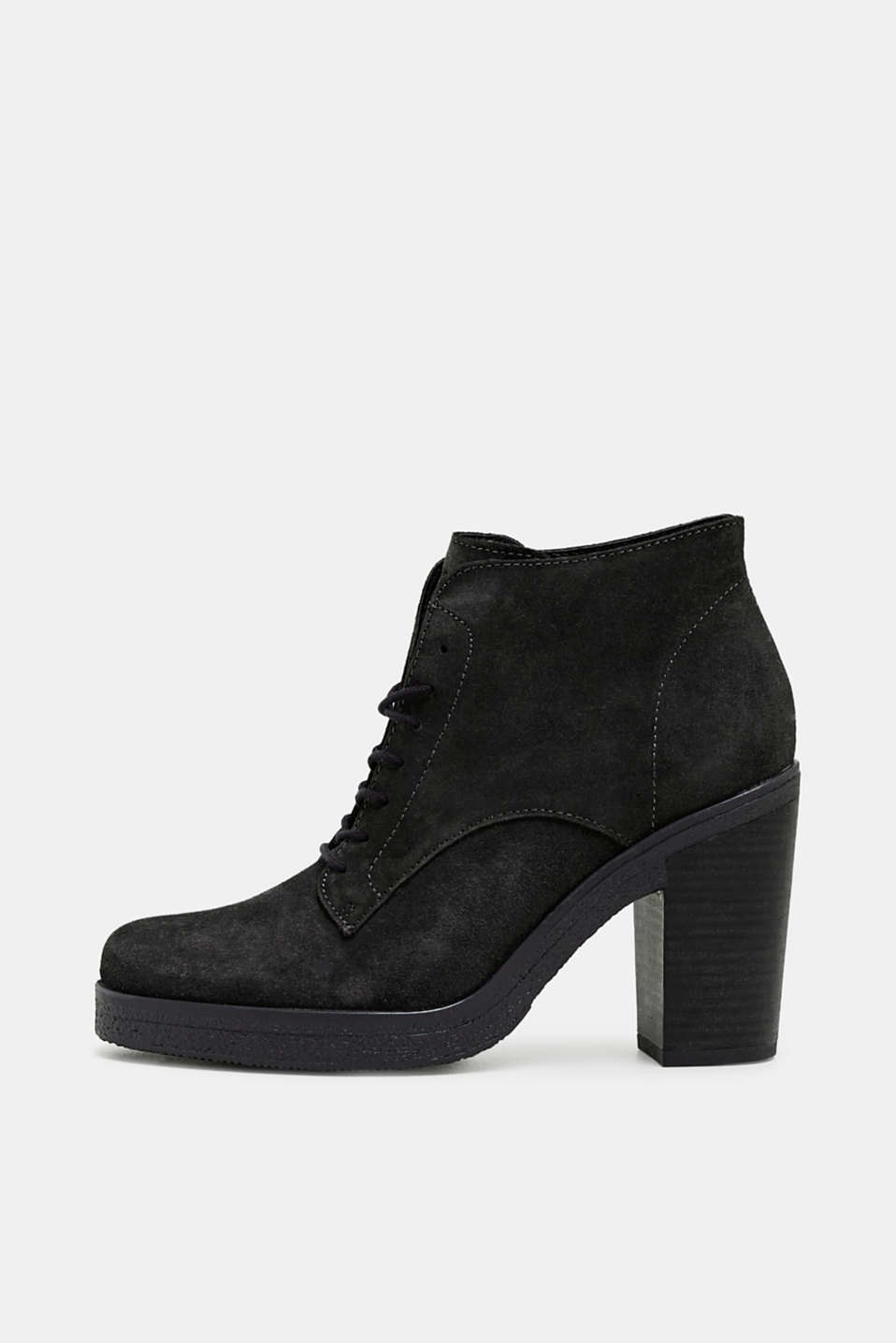 Esprit - Leather lace-up boots with a block heel