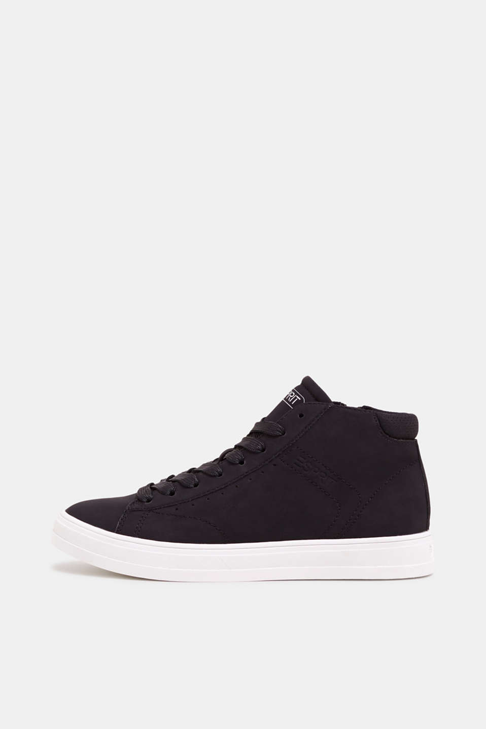 High-top trainers in vegan faux leather