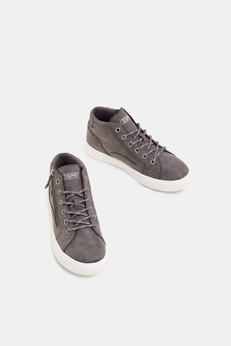 High-top trainers in vegan faux leather, GUNMETAL, detail image number 1