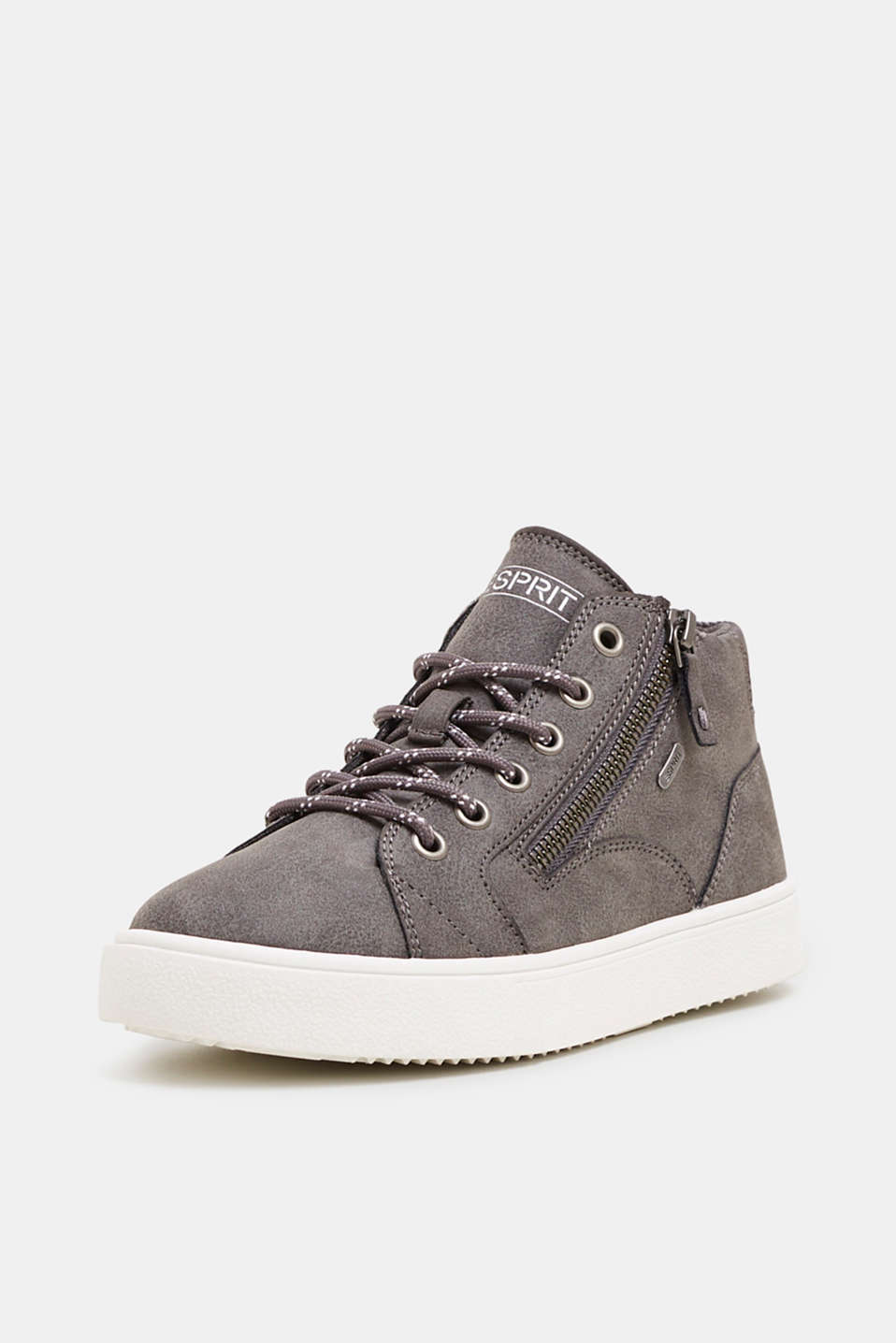 High-top trainers in vegan faux leather, GUNMETAL, detail image number 2