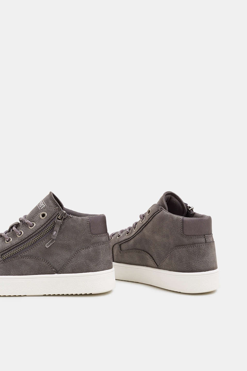 High-top trainers in vegan faux leather, GUNMETAL, detail image number 5