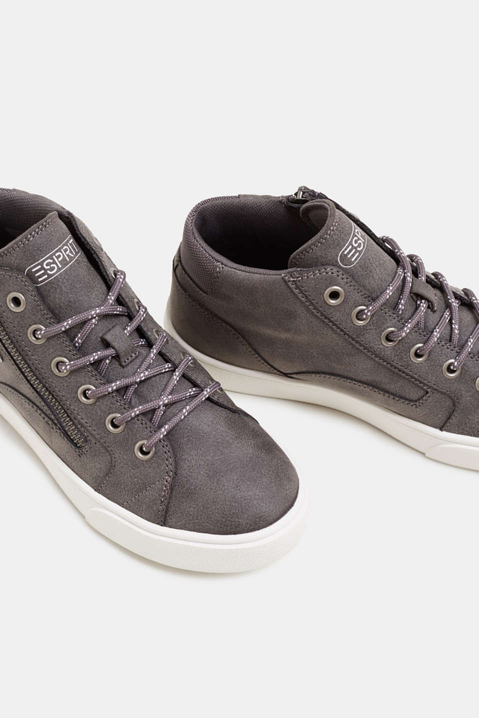 High-top trainers in vegan faux leather, GUNMETAL, detail image number 4