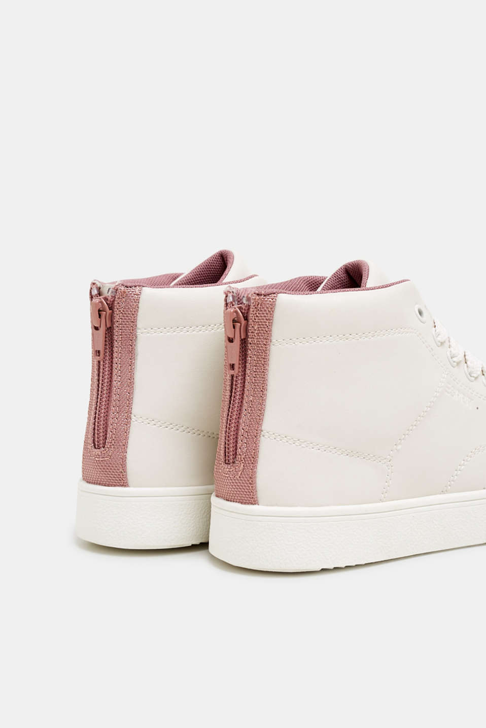 High-top trainers in vegan faux leather, DARK OLD PINK, detail image number 5