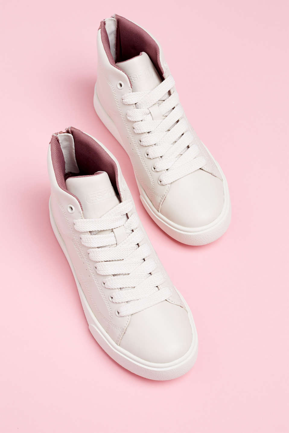 High-top trainers in vegan faux leather, DARK OLD PINK, detail image number 6
