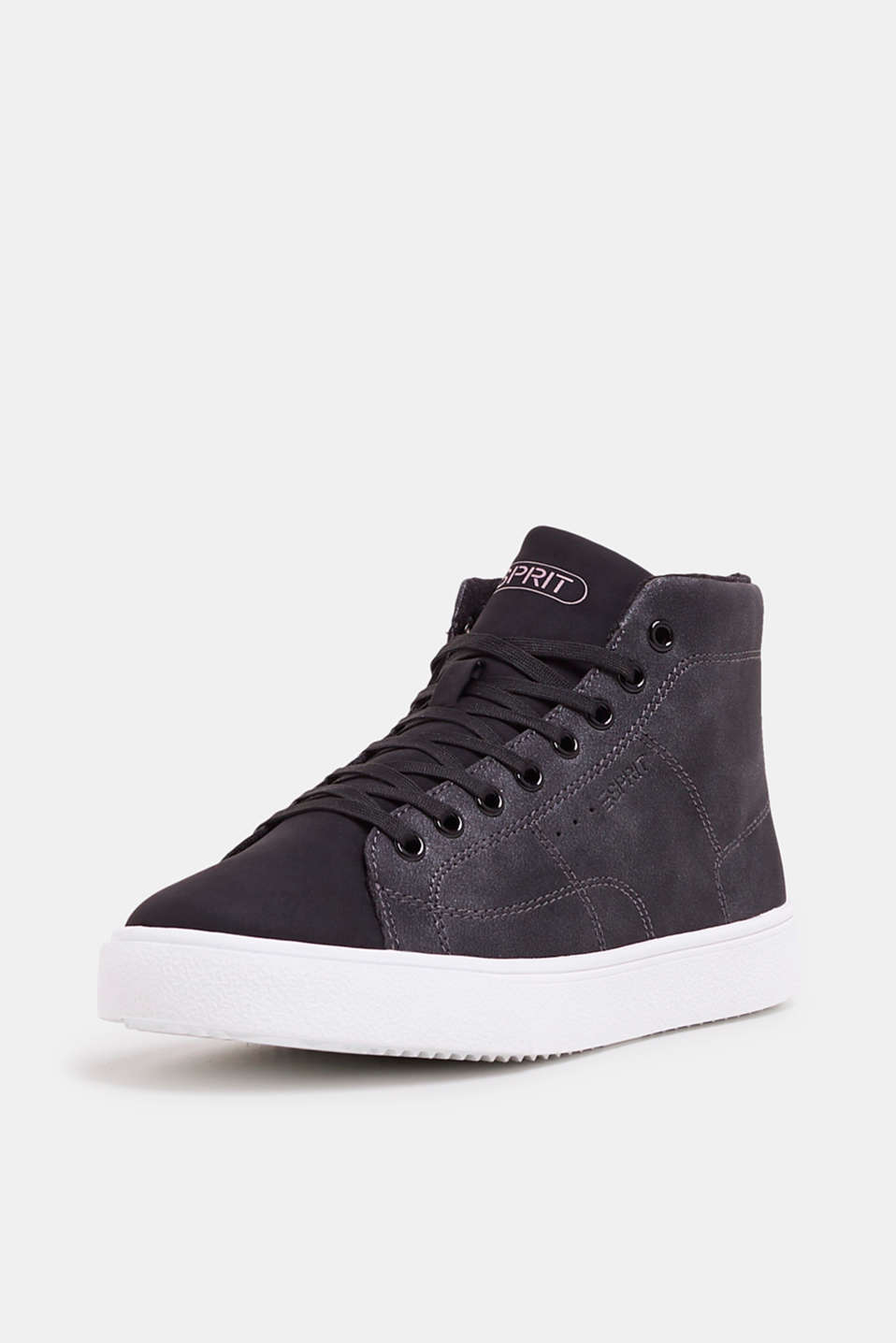 High-top trainers in vegan faux leather, BLACK, detail image number 2