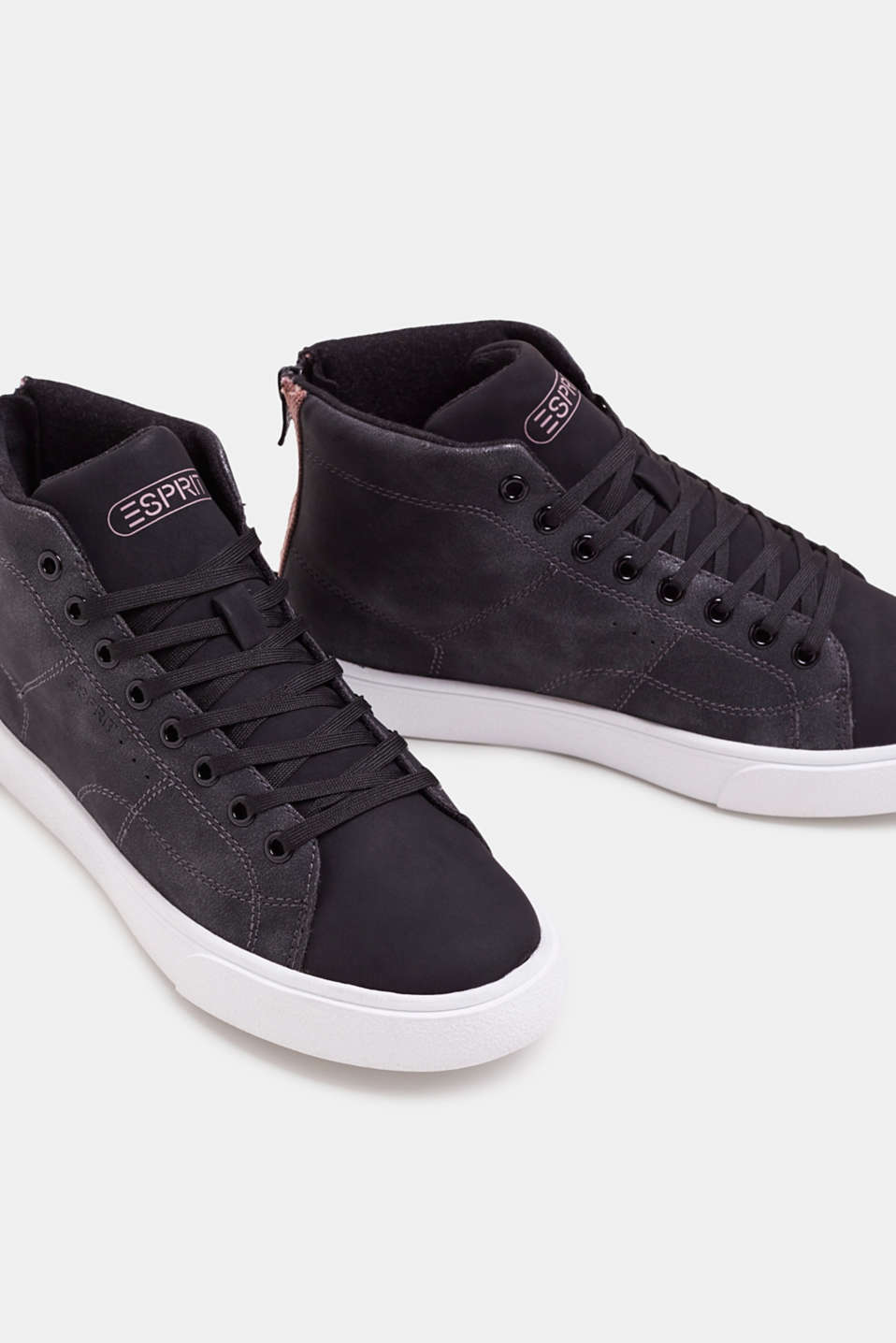High-top trainers in vegan faux leather, BLACK, detail image number 4