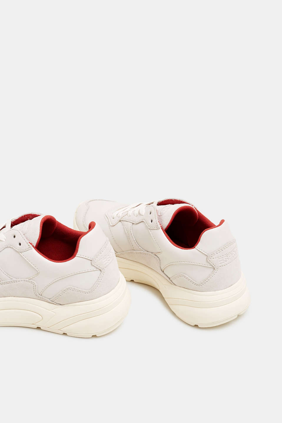 Trendy trainers made of a material mix with leather, OFF WHITE, detail image number 5