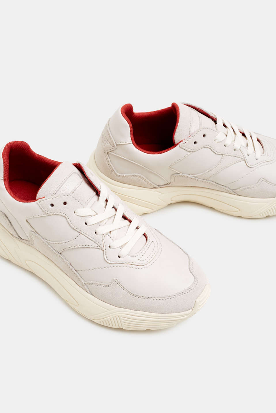 Trendy trainers made of a material mix with leather, OFF WHITE, detail image number 4