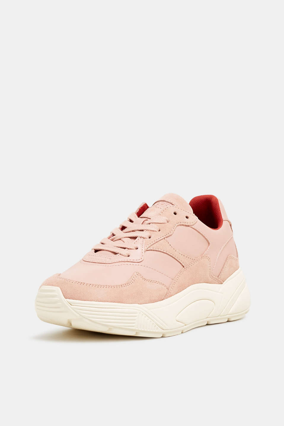 Trendy trainers made of a material mix with leather, NUDE 2, detail image number 2