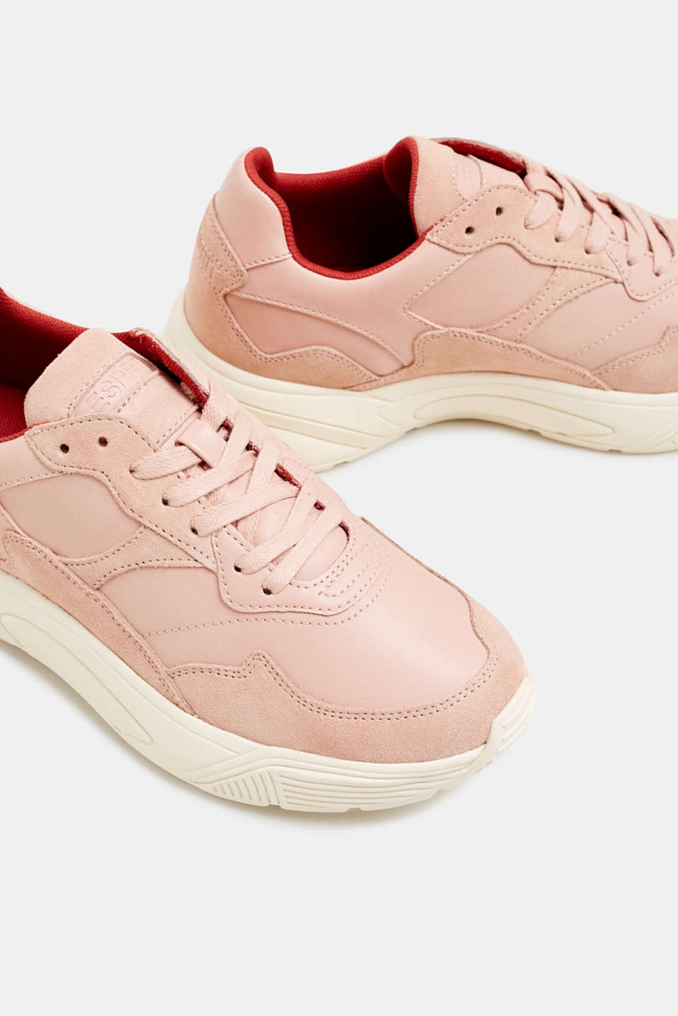 Trendy trainers made of a material mix with leather, NUDE 2, detail image number 4