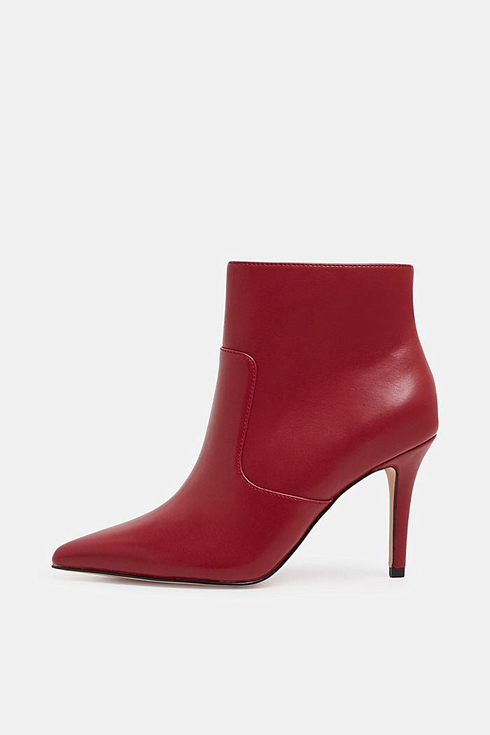 Ankle boots with kitten heel, made of faux leather, RED, detail image number 0