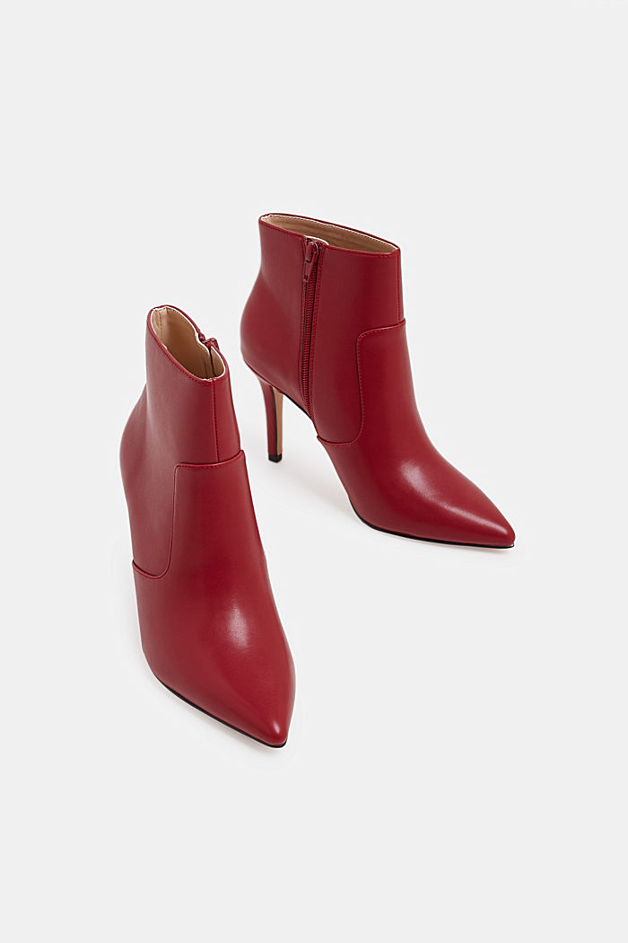 Ankle boots with kitten heel, made of faux leather, RED, detail image number 1