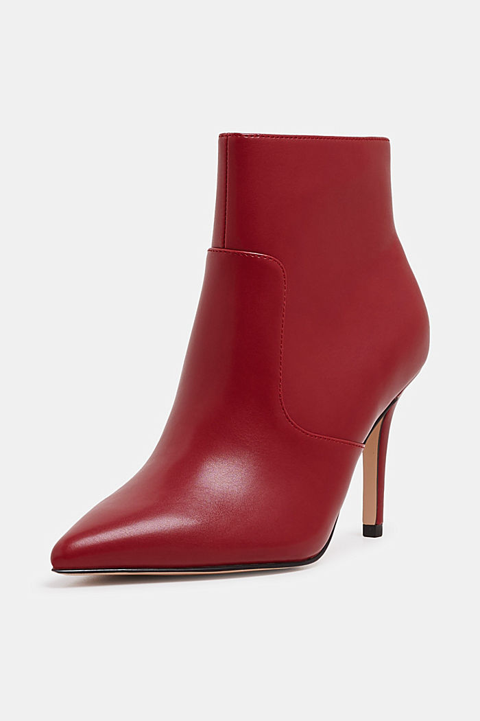 Ankle boots with kitten heel, made of faux leather, RED, detail image number 2