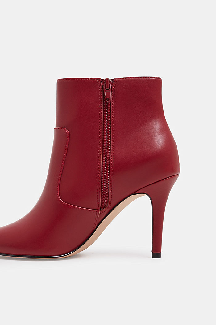 Ankle boots with kitten heel, made of faux leather, RED, detail image number 3