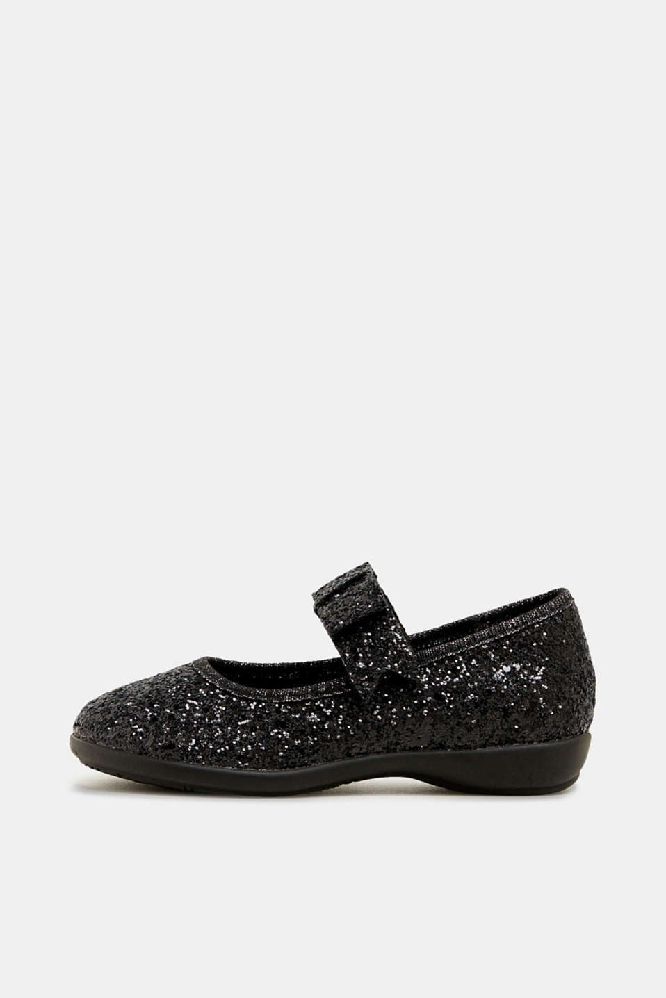 Sparkly ballerinas with a bow, BLACK, detail image number 0