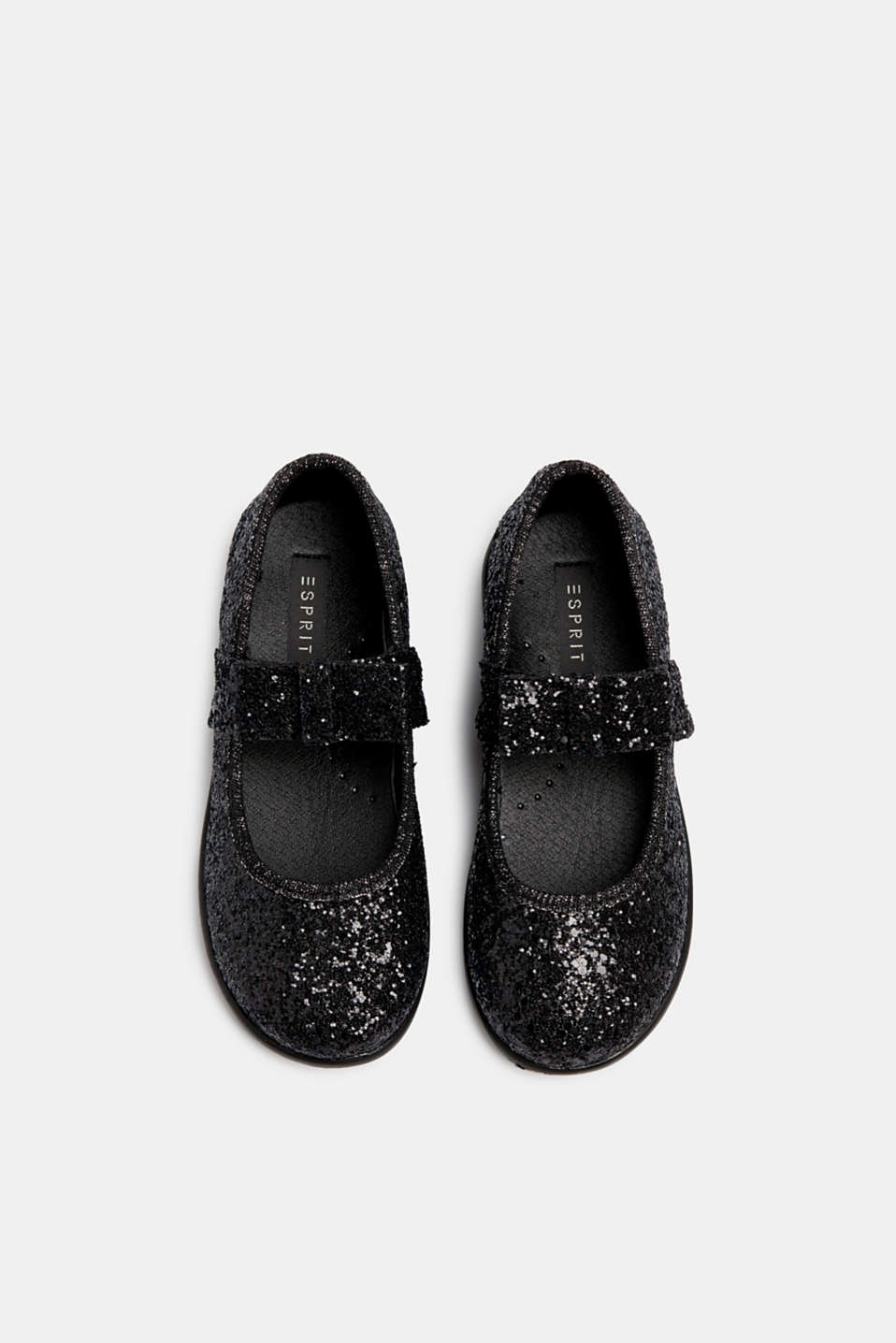 Sparkly ballerinas with a bow, BLACK, detail image number 1