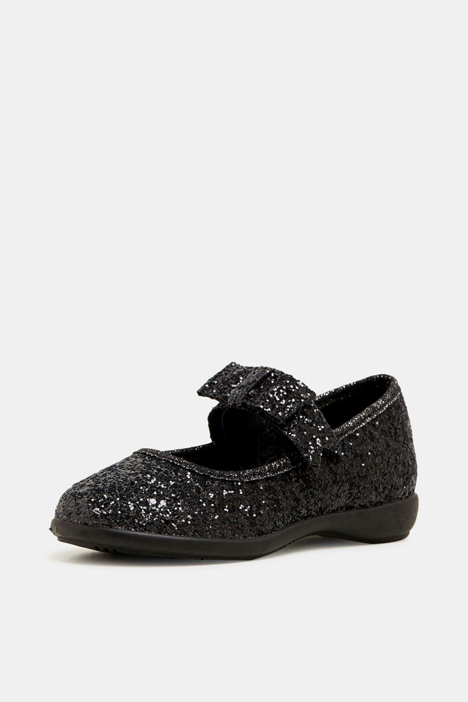 Sparkly ballerinas with a bow, BLACK, detail image number 2