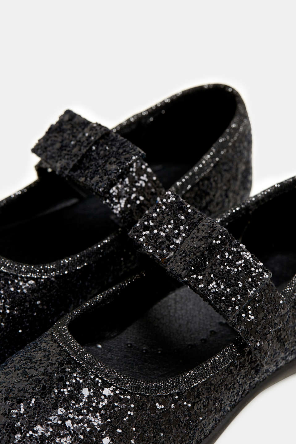 Sparkly ballerinas with a bow, BLACK, detail image number 3