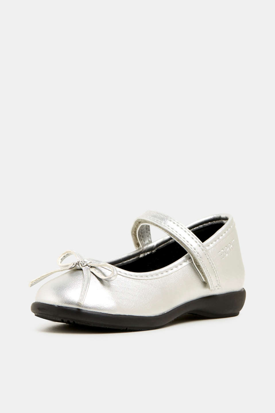 Bow ballerinas with a rubber sole, SILVER, detail image number 0