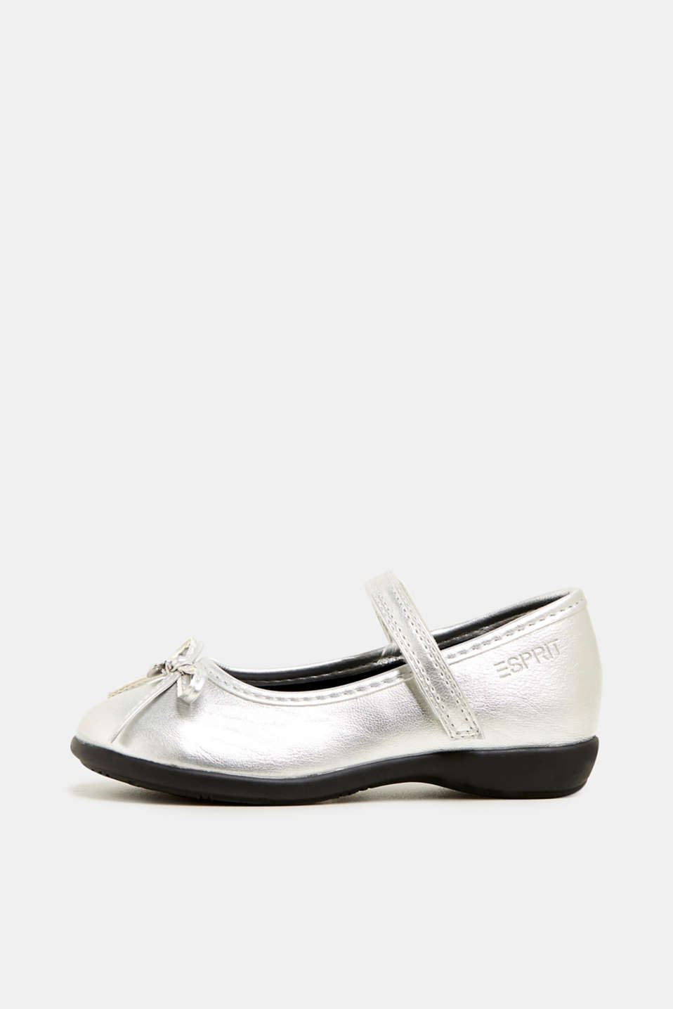 Bow ballerinas with a rubber sole, SILVER, detail image number 2