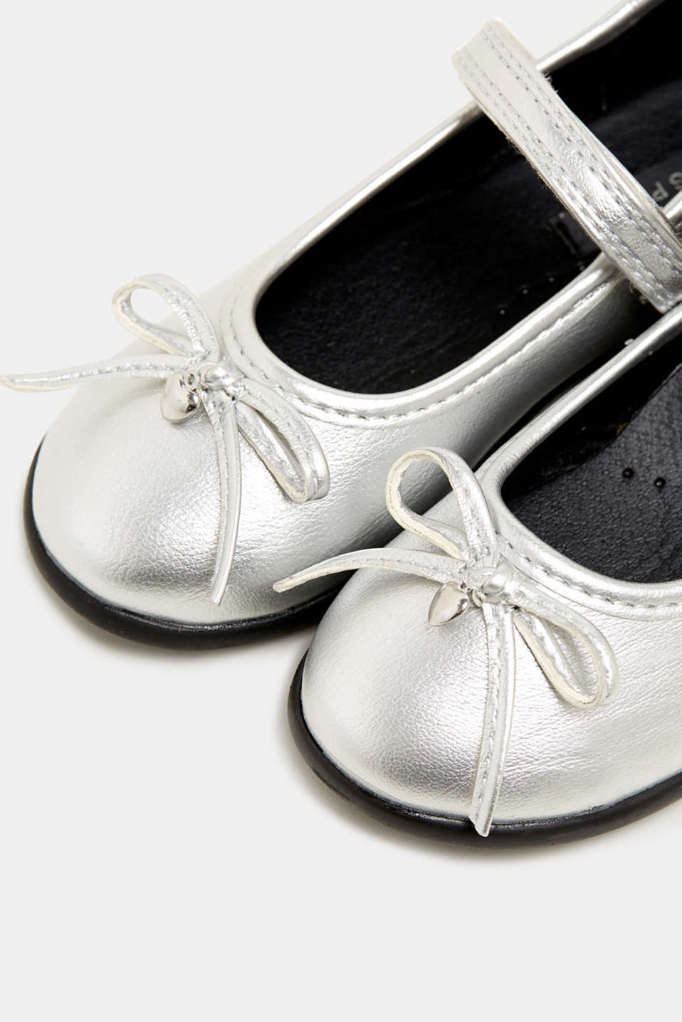 Bow ballerinas with a rubber sole, SILVER, detail image number 3