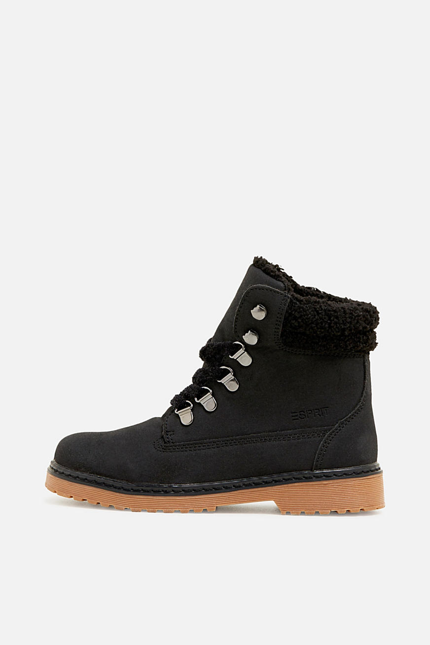 Lace-up boots in faux suede