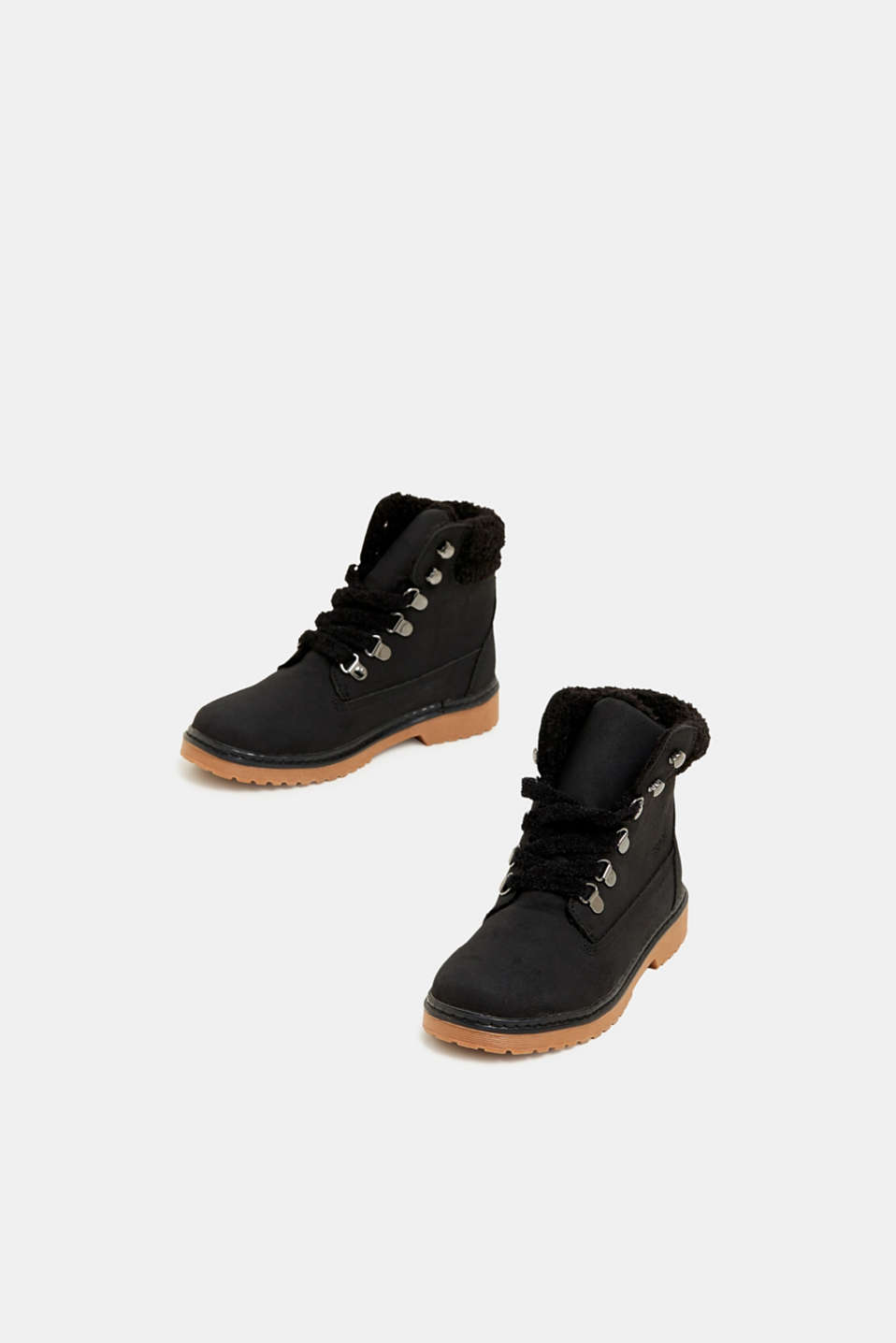 Lace-up boots in faux suede, BLACK, detail image number 1