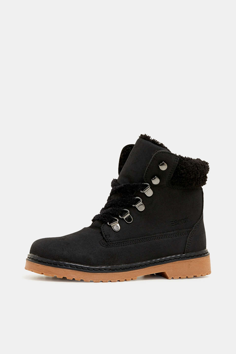 Lace-up boots in faux suede, BLACK, detail image number 2