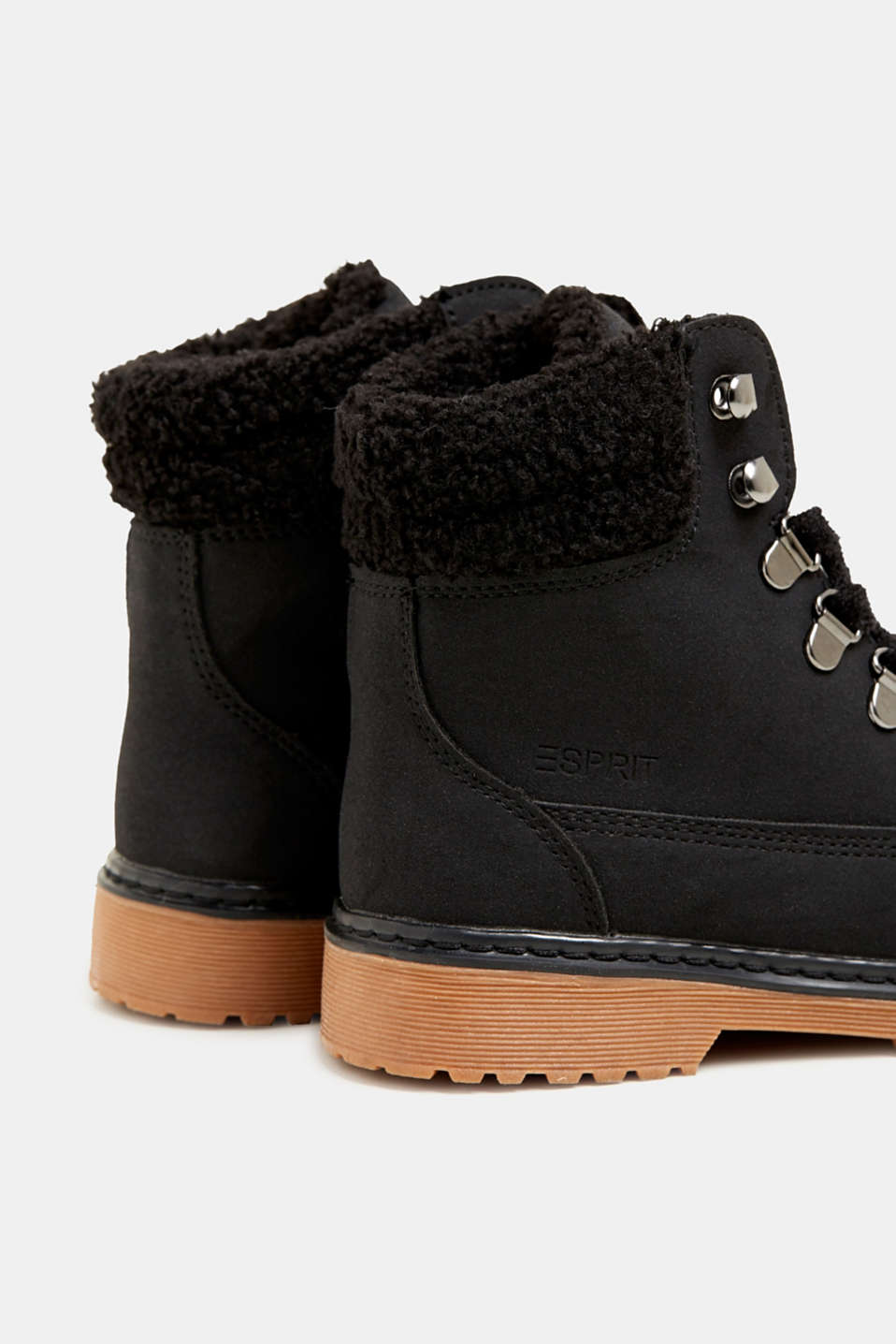 Lace-up boots in faux suede, BLACK, detail image number 4