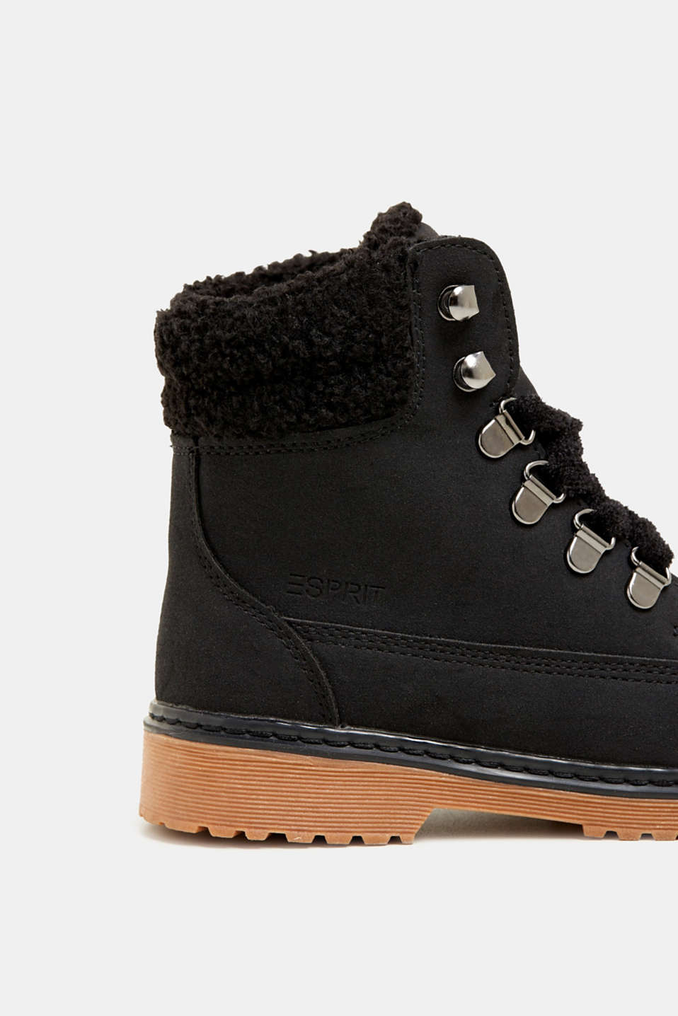 Lace-up boots in faux suede, BLACK, detail image number 3