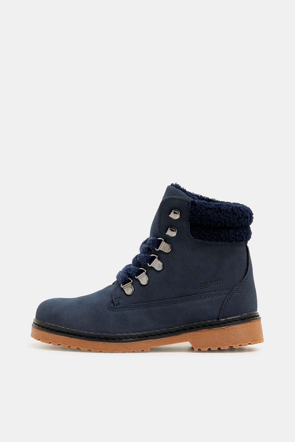 Lace-up boots in faux suede, NAVY, detail image number 0