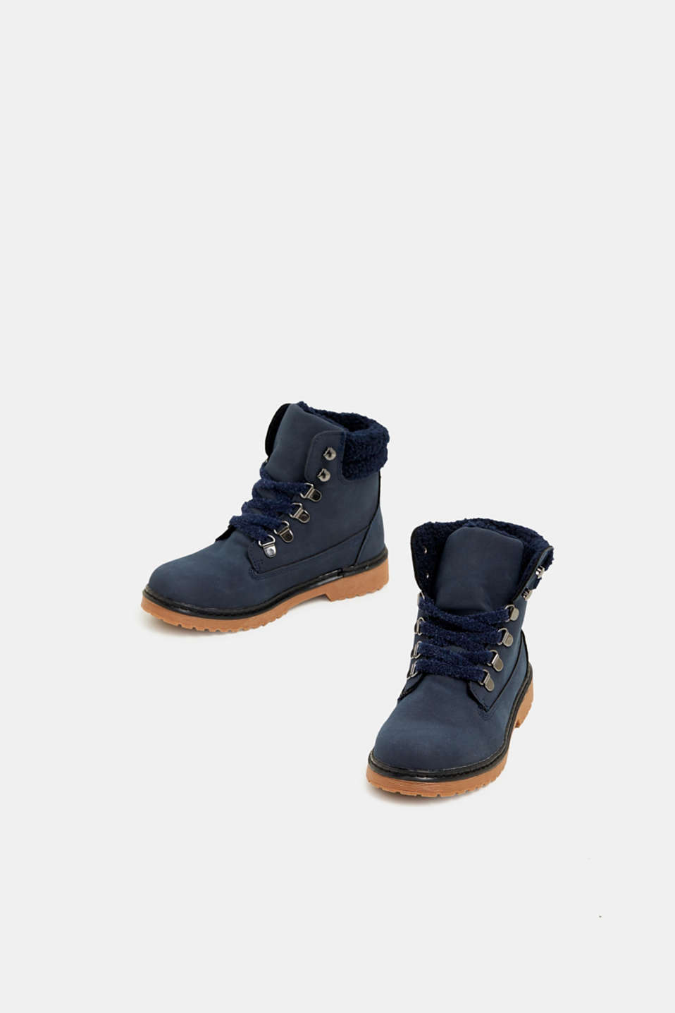 Lace-up boots in faux suede, NAVY, detail image number 1