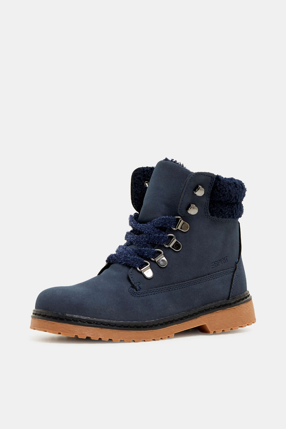 Lace-up boots in faux suede, NAVY, detail image number 2