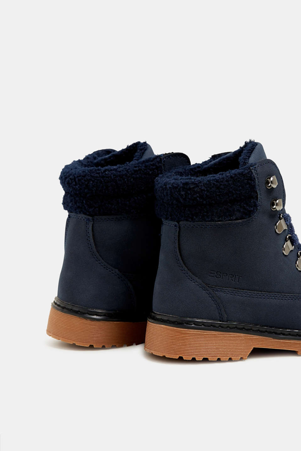 Lace-up boots in faux suede, NAVY, detail image number 4