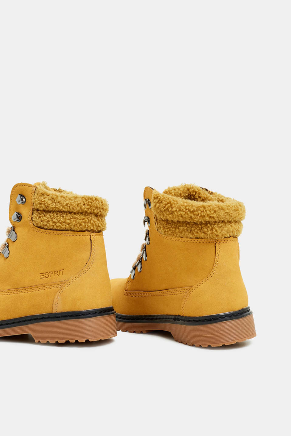 Lace-up boots in faux suede, BRASS YELLOW, detail image number 4