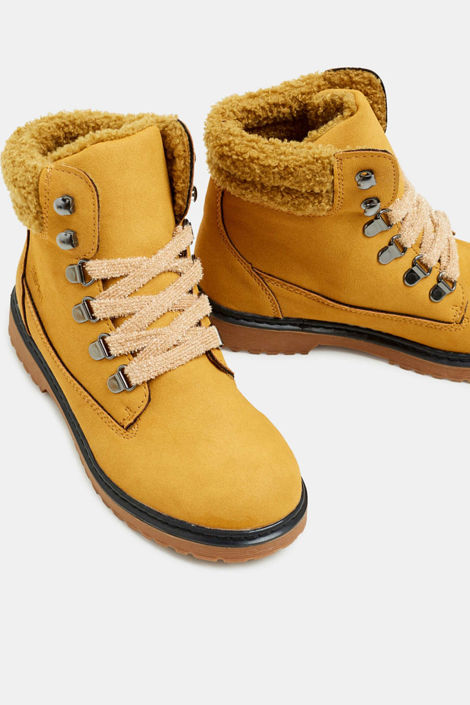 Lace-up boots in faux suede, BRASS YELLOW, detail image number 3