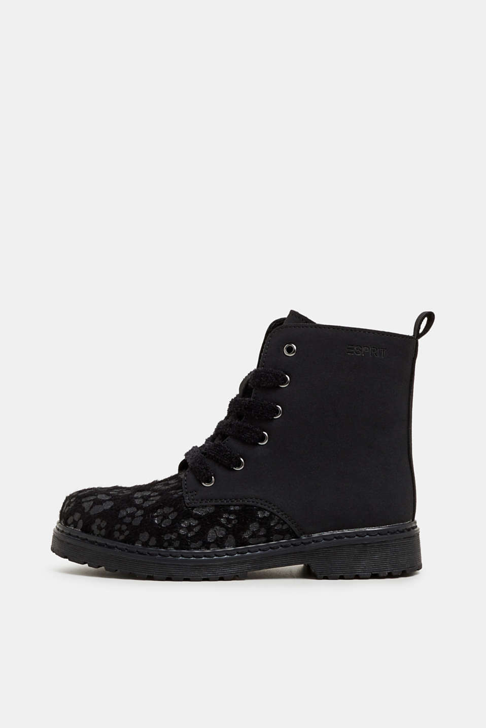 Material mix lace-up boots, BLACK, detail image number 0