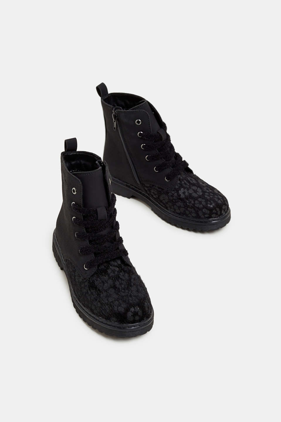 Material mix lace-up boots, BLACK, detail image number 1