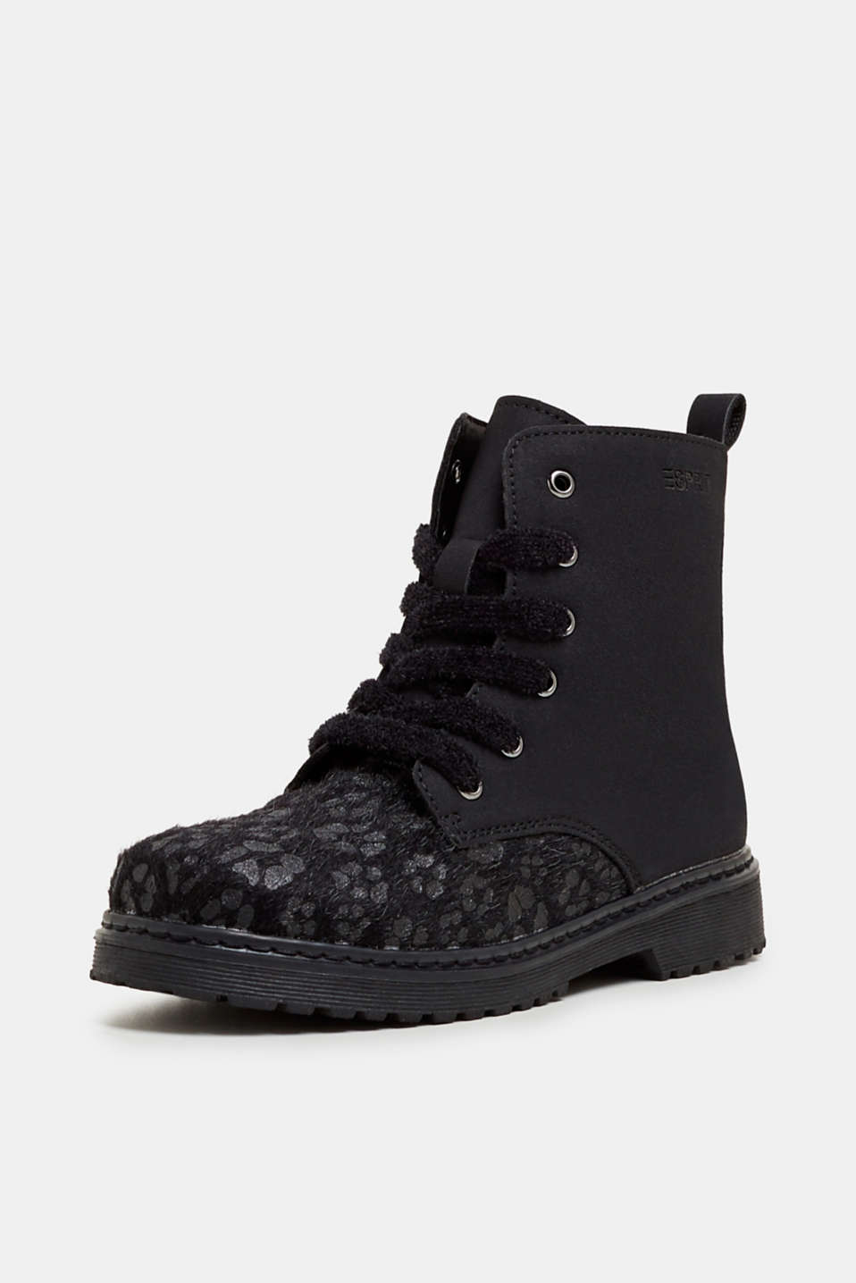 Material mix lace-up boots, BLACK, detail image number 2