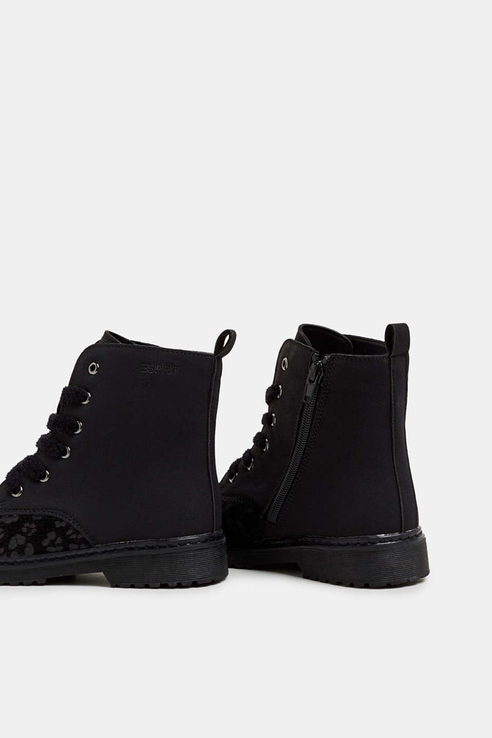 Material mix lace-up boots, BLACK, detail image number 4