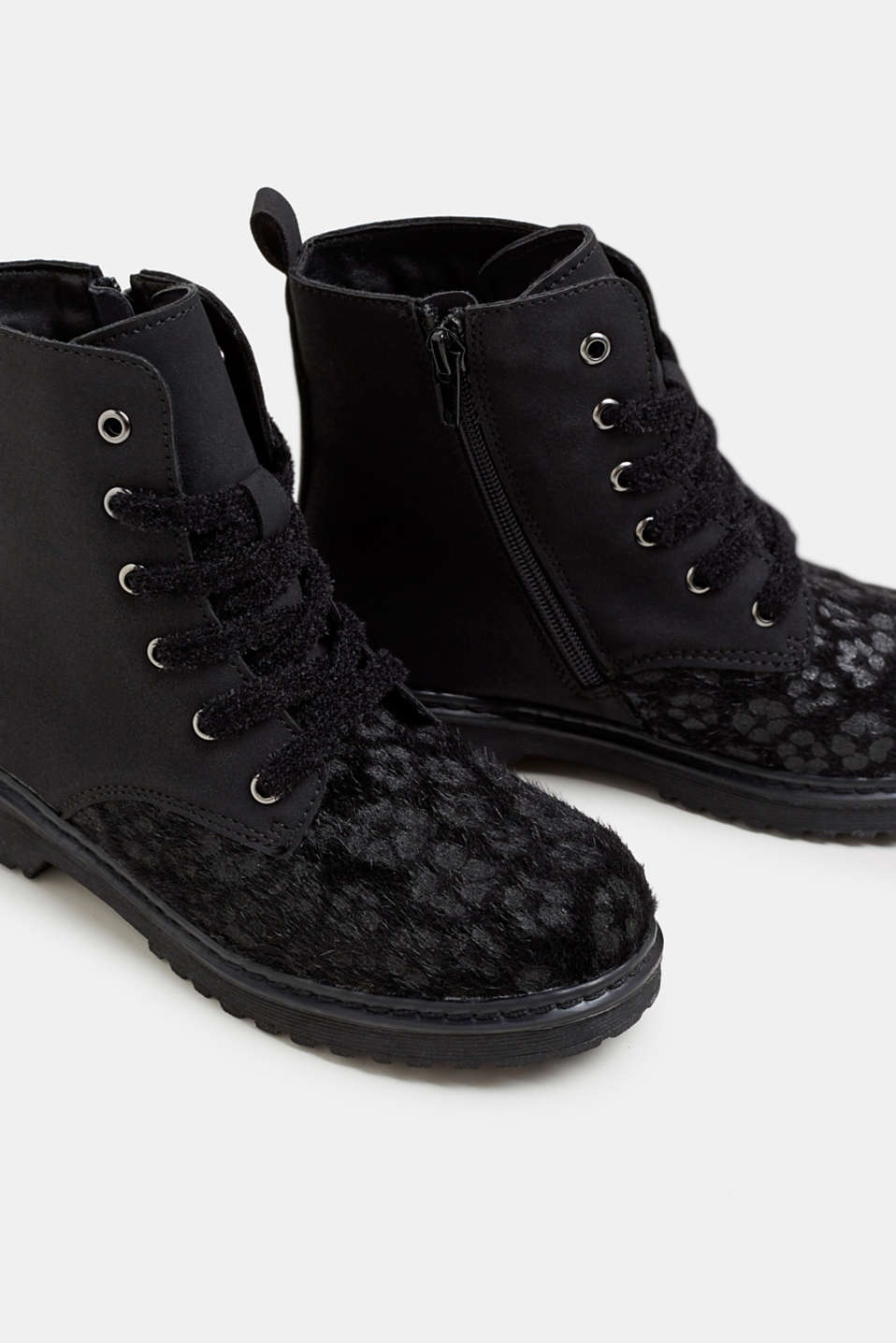 Material mix lace-up boots, BLACK, detail image number 3
